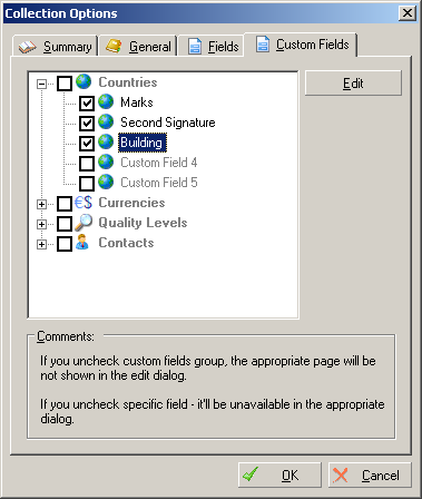Document Options: Custom Fields
