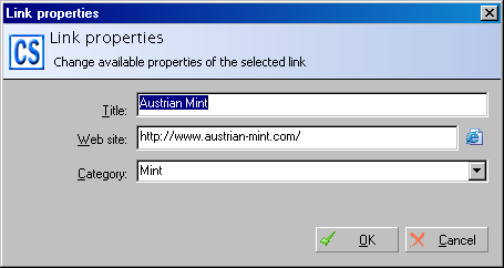 Link properties window