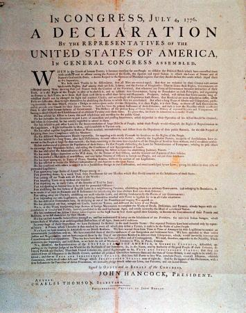 DECLARATION OF INDEPENDENCE COPY THE OF